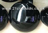 CAA2533 15.5 inches 30mm flat round black agate beads wholesale