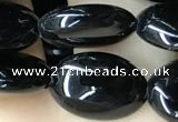CAA2537 15.5 inches 8*12mm oval black agate beads wholesale