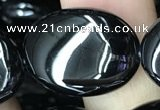 CAA2542 15.5 inches 18*25mm oval black agate beads wholesale
