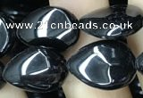 CAA2546 15.5 inches 8*12mm flat teardrop black agate beads wholesale