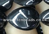 CAA2550 15.5 inches 15*20mm flat teardrop black agate beads wholesale