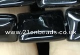 CAA2568 15.5 inches 13*18mm rectangle black agate beads wholesale