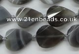 CAA258 15.5 inches 18*25mm twisted & faceted teardrop grey line agate beads