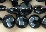 CAA2580 15.5 inches 10mm faceted coin black agate beads wholesale