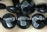 CAA2581 15.5 inches 12mm faceted coin black agate beads wholesale