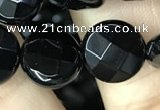 CAA2583 15.5 inches 16mm faceted coin black agate beads wholesale