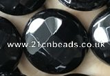 CAA2587 15.5 inches 30mm faceted coin black agate beads wholesale