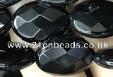 CAA2594 15.5 inches 13*18mm faceted oval black agate beads wholesale