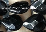 CAA2602 15.5 inches 12*16mm faceted flat teardrop black agate beads