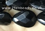 CAA2603 15.5 inches 13*18mm faceted flat teardrop black agate beads