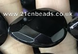CAA2605 15.5 inches 18*25mm faceted flat teardrop black agate beads