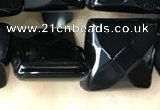 CAA2612 15.5 inches 18*18mm faceted square black agate beads