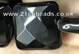 CAA2615 15.5 inches 30*30mm faceted square black agate beads