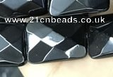 CAA2622 15.5 inches 15*20mm faceted rectangle black agate beads