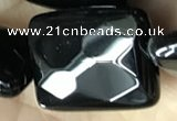 CAA2624 15.5 inches 22*30mm faceted rectangle black agate beads