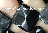 CAA2630 15.5 inches 18*18mm faceted diamond black agate beads