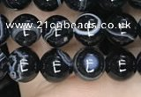 CAA2636 15.5 inches 6mm round banded black agate beads wholesale
