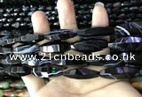 CAA2656 15.5 inches 10*30mm faceted rice banded black agate beads