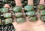 CAA2672 15.5 inches 13*22mm - 15*23mm drum tibetan agate dzi beads