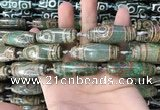 CAA2699 15.5 inches 14*38mm - 16*43mm rice tibetan agate dzi beads