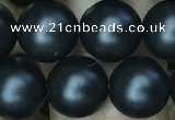 CAA2764 15.5 inches 10mm round matte black agate beads wholesale