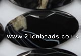CAA277 15.5 inches 30*60mm faceted oval black line agate beads