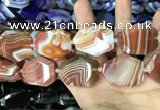 CAA2773 25*32mm - 27*35mm faceted freeform line agate beads