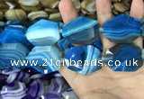 CAA2774 25*32mm - 27*35mm faceted freeform line agate beads
