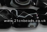 CAA279 15.5 inches 23*30mm faceted rectangle black line agate beads