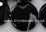 CAA281 15.5 inches 35mm faceted coin black line agate beads
