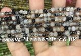 CAA2846 15 inches 4mm faceted round fire crackle agate beads wholesale