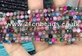 CAA2847 15 inches 4mm faceted round fire crackle agate beads wholesale