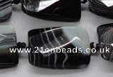 CAA287 22*30mm twisted & faceted rectangle black line agate beads