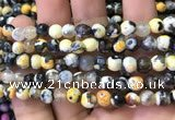 CAA2909 15 inches 6mm faceted round fire crackle agate beads wholesale