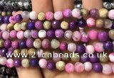 CAA2914 15 inches 6mm faceted round fire crackle agate beads wholesale