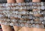 CAA2930 15 inches 6mm faceted round fire crackle agate beads wholesale