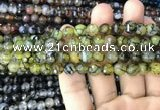CAA2968 15 inches 8mm faceted round fire crackle agate beads wholesale