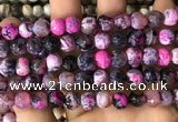 CAA2975 15 inches 8mm faceted round fire crackle agate beads wholesale