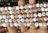 CAA2981 15 inches 8mm faceted round fire crackle agate beads wholesale