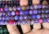 CAA3003 15 inches 8mm faceted round fire crackle agate beads wholesale