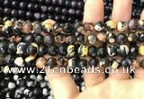 CAA3014 15 inches 8mm faceted round fire crackle agate beads wholesale