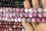 CAA3075 15 inches 10mm faceted round fire crackle agate beads wholesale