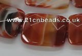 CAA308 15.5 inches 22*30mm faceted rectangle red line agate beads