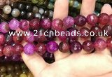 CAA3137 15 inches 12mm faceted round fire crackle agate beads wholesale