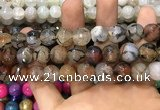 CAA3148 15 inches 12mm faceted round fire crackle agate beads wholesale