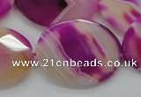 CAA315 15.5 inches 20*26mm faceted oval fuchsia line agate beads