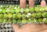 CAA3154 15 inches 12mm faceted round fire crackle agate beads wholesale