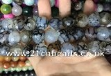 CAA3189 15 inches 14mm faceted round fire crackle agate beads wholesale