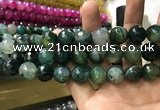 CAA3193 15 inches 14mm faceted round fire crackle agate beads wholesale