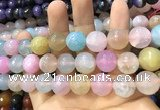 CAA3203 15 inches 14mm faceted round fire crackle agate beads wholesale